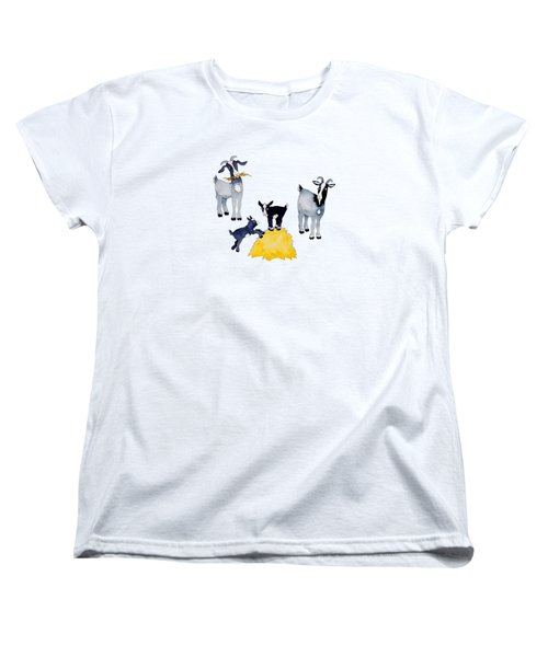 Happy Goats Women's T-Shirt (Standard Cut) by Sarah Rosedahl