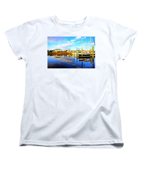 Women's T-Shirt (Standard Cut) featuring the photograph Harbour Reflections by Shelia Kempf
