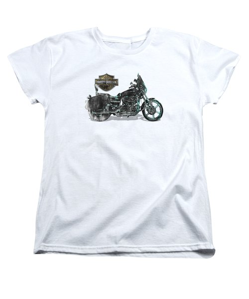 Women's T-Shirt (Standard Cut) featuring the digital art Harley-davidson Motorcycle With 3d Badge Over Vintage Patent by Serge Averbukh