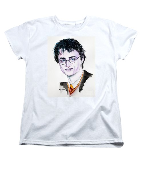 Women's T-Shirt (Standard Cut) featuring the painting Harry Potter by Maria Barry