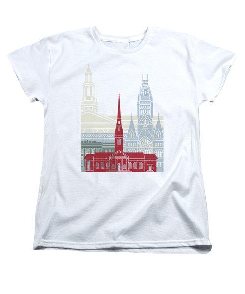 Harvard Skyline Poster Women's T-Shirt (Standard Cut) by Pablo Romero