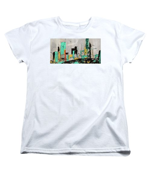 Women's T-Shirt (Standard Cut) featuring the painting Hashtag City by Carmen Guedez