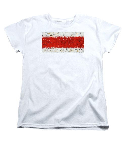 Women's T-Shirt (Standard Cut) featuring the painting Hashtag Red - Abstract Art by Carmen Guedez