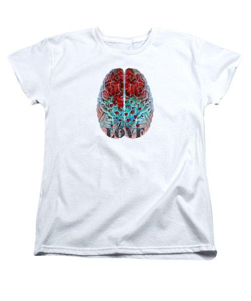 Heart Art - Think Love - By Sharon Cummings Women's T-Shirt (Standard Cut) by Sharon Cummings