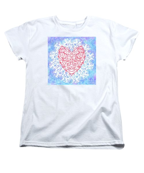 Heart In A Snowflake II Women's T-Shirt (Standard Cut) by Lise Winne