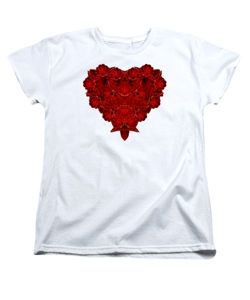 Heart Of Flowers T-shirt Women's T-Shirt (Standard Cut) by Edward Fielding