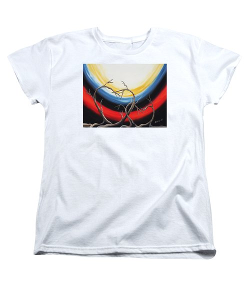 Women's T-Shirt (Standard Cut) featuring the painting Hearts by Edwin Alverio