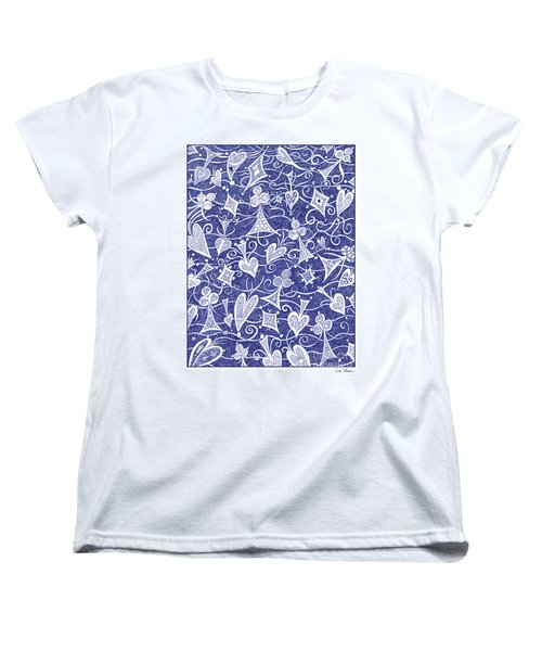 Hearts, Spades, Diamonds And Clubs In Blue Women's T-Shirt (Standard Cut) by Lise Winne