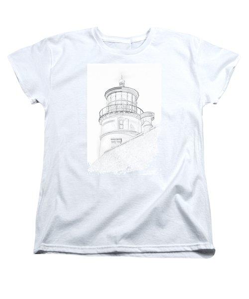 Hecitia Head Lighthouse Sketch Women's T-Shirt (Standard Cut) by Jeffrey Jensen
