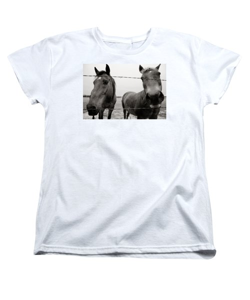 Hello Horses Women's T-Shirt (Standard Cut) by Toni Hopper