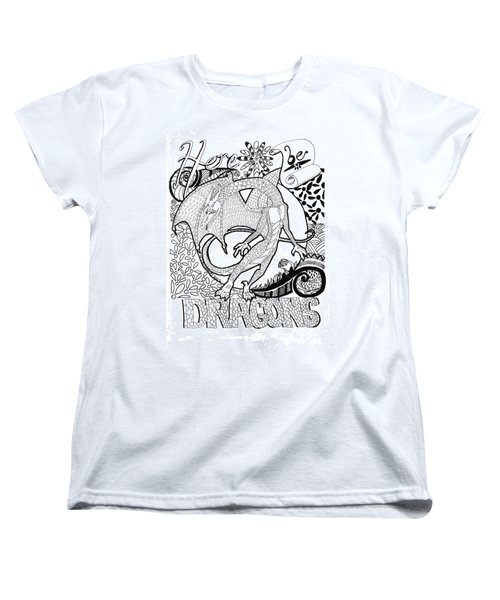 Here Be Dragons Women's T-Shirt (Standard Cut) by Wendy Coulson