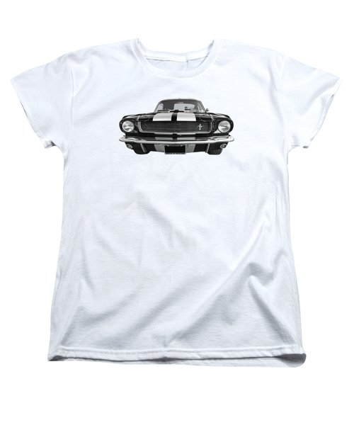 Women's T-Shirt (Standard Cut) featuring the photograph Hertz Rent A Racer Mustang 1966 Black And White by Gill Billington