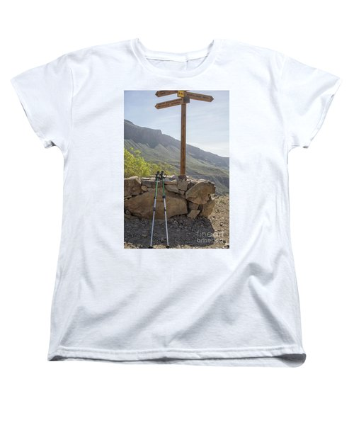 Hiking Poles Resting Near Sign Women's T-Shirt (Standard Cut) by Patricia Hofmeester