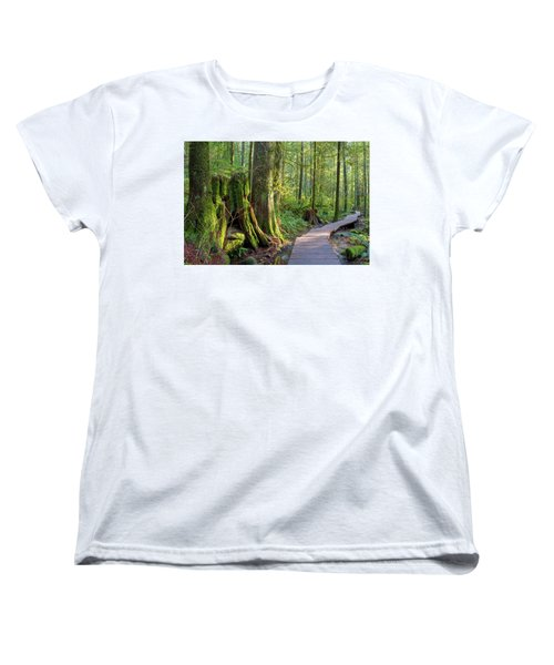 Hiking Trail Through Forest In Lynn Canyon Park Women's T-Shirt (Standard Fit)