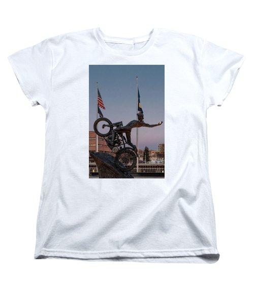 Women's T-Shirt (Standard Cut) featuring the photograph Hill Climber Catches The Moon by Randy Scherkenbach