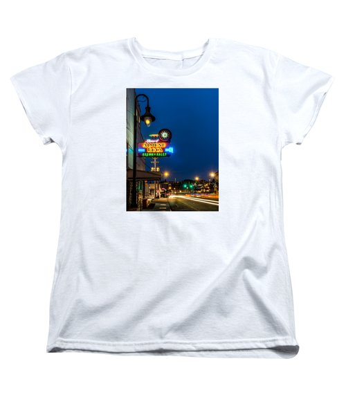 Historic Almond Roca Co. During Blue Hour Women's T-Shirt (Standard Cut) by Rob Green
