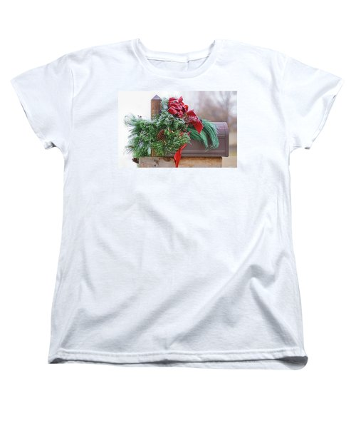 Women's T-Shirt (Standard Cut) featuring the photograph Holiday Mail by Nikolyn McDonald