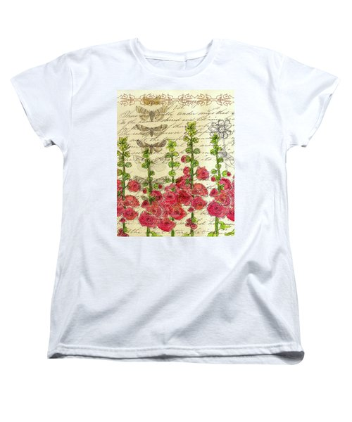 Women's T-Shirt (Standard Cut) featuring the drawing Hollyhocks And Butterflies  by Cathie Richardson