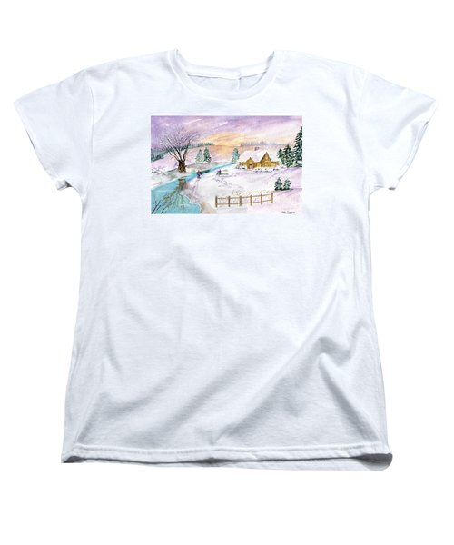 Women's T-Shirt (Standard Cut) featuring the painting Home For Christmas by Melly Terpening
