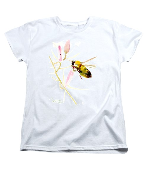 Honey Bee And Pink Flower Women's T-Shirt (Standard Cut) by Suren Nersisyan