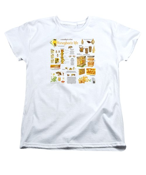 Women's T-Shirt (Standard Cut) featuring the drawing Honey Bees Infographic by Gina Dsgn