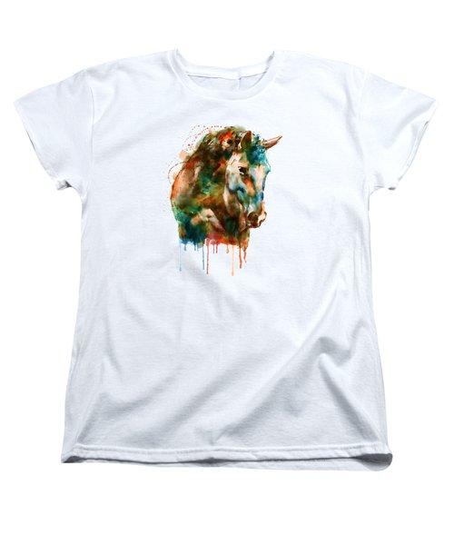 Horse Head Watercolor Women's T-Shirt (Standard Cut) by Marian Voicu