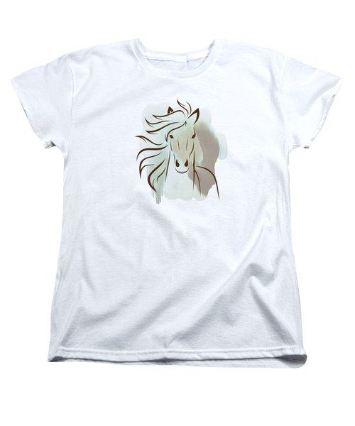 Horse Wall Art - Elegant Bright Pastel Color Animals Women's T-Shirt (Standard Cut) by Wall Art Prints