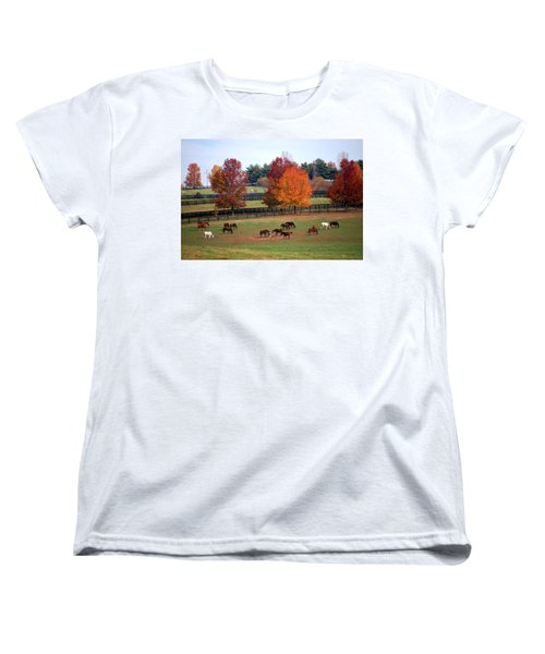 Women's T-Shirt (Standard Cut) featuring the photograph Horses Grazing In The Fall by Sumoflam Photography