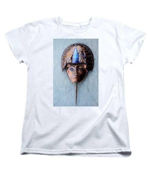 Horseshoe Crab Mask Peacock Helmet Women's T-Shirt (Standard Cut) by Roger Swezey