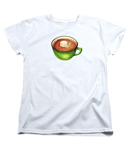Hot Cocoa Pattern Women's T-Shirt (Standard Cut) by Kelly Gilleran