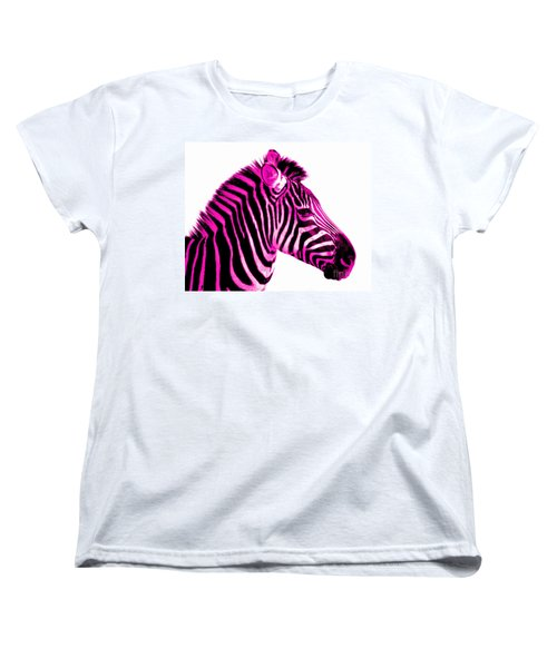 Hot Pink Zebra Women's T-Shirt (Standard Cut) by Rebecca Margraf