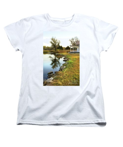 Women's T-Shirt (Standard Cut) featuring the photograph House By The Edge Of The Lake by Jill Battaglia