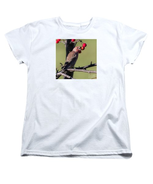 House Finch Vs Crabapple  Women's T-Shirt (Standard Cut) by Ricky L Jones