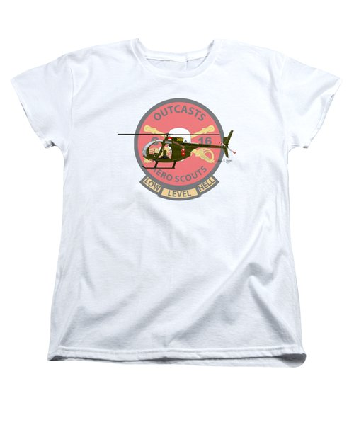 Women's T-Shirt (Standard Cut) featuring the digital art Hughes Oh-6a Electric Olive II by Arthur Eggers
