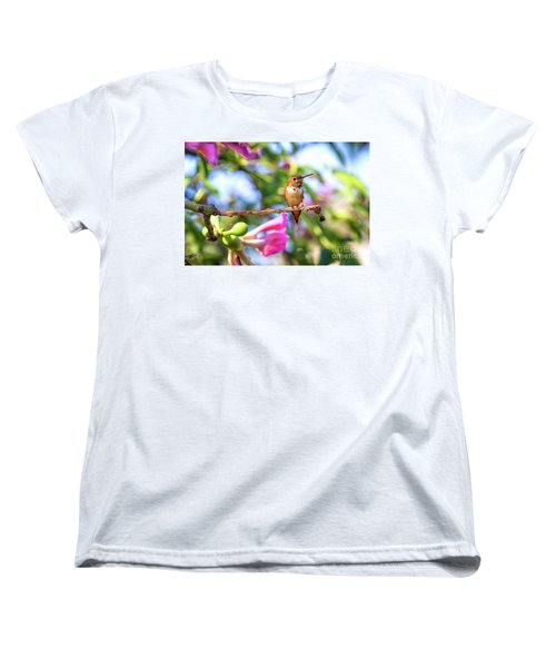 Humming Bird Pink Flowers Women's T-Shirt (Standard Cut) by Stephanie Hayes