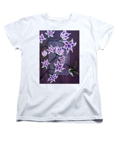 Hummingbird Delight Women's T-Shirt (Standard Cut) by Teresa Wing