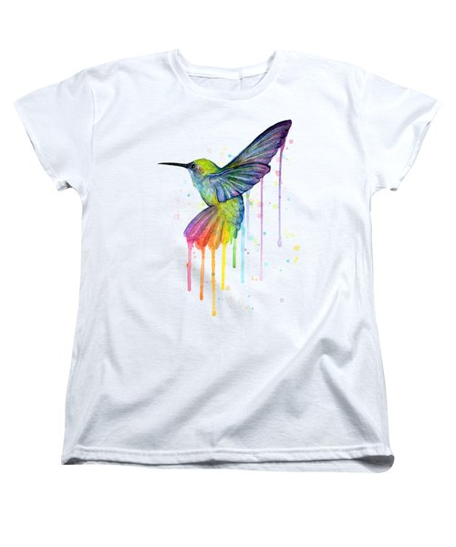 Hummingbird Of Watercolor Rainbow Women's T-Shirt (Standard Cut) by Olga Shvartsur