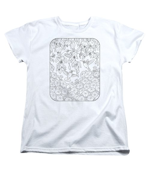 Hummingbirds And Flowers Coloring Page Women's T-Shirt (Standard Cut) by Crista Forest