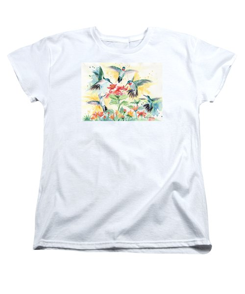 Hummingbirds Party Women's T-Shirt (Standard Cut) by Melly Terpening