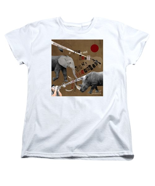 Women's T-Shirt (Standard Cut) featuring the digital art Hunt Wildlife Poachers by Nola Lee Kelsey