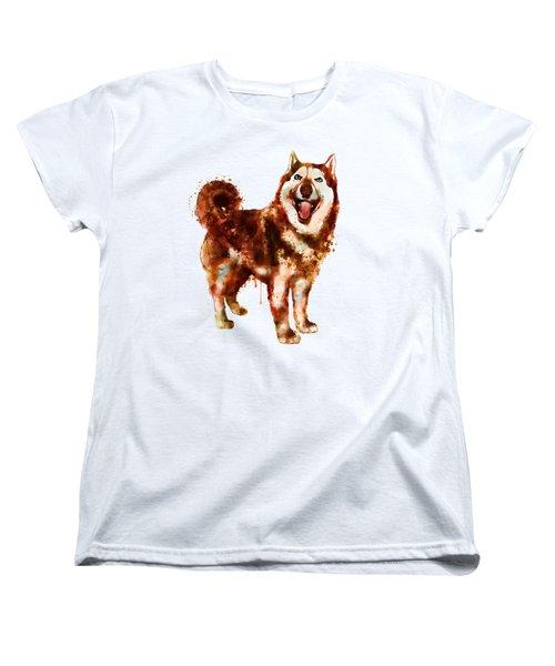 Husky Dog Watercolor Women's T-Shirt (Standard Fit)