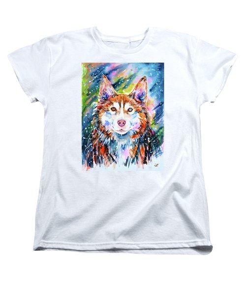 Women's T-Shirt (Standard Cut) featuring the painting Husky by Zaira Dzhaubaeva