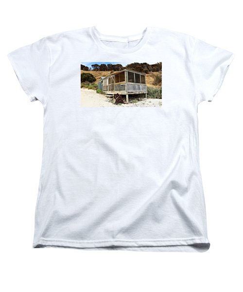 Women's T-Shirt (Standard Cut) featuring the photograph Hut At Western River Cove by Stephen Mitchell