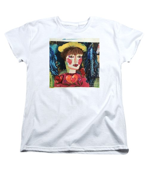 Women's T-Shirt (Standard Cut) featuring the painting I Carry Your Heart In My Heart by Kim Nelson