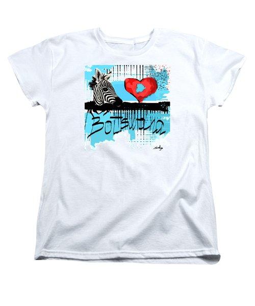 Women's T-Shirt (Standard Cut) featuring the digital art I Love Botswana  by Sladjana Lazarevic