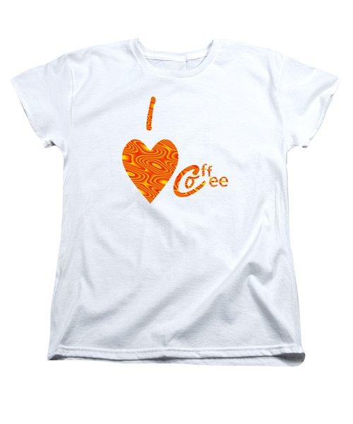 I Love Coffee Peach And Yellow Women's T-Shirt (Standard Cut) by Kathleen Sartoris