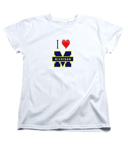 I Love Michigan Women's T-Shirt (Standard Cut) by Pat Cook