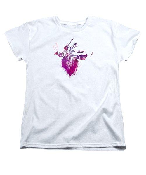 I Love Music - Music My Love Red Women's T-Shirt (Standard Cut) by Justyna JBJart