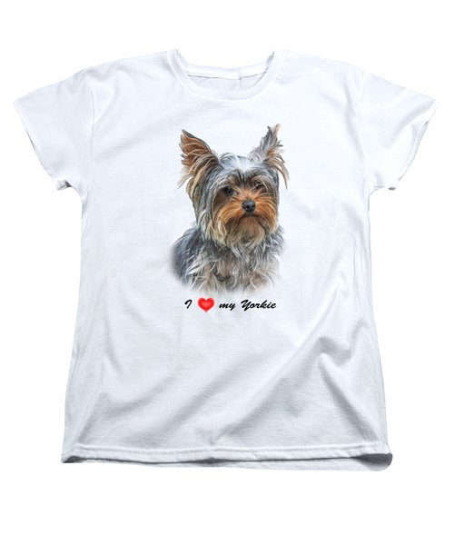 Women's T-Shirt (Standard Cut) featuring the photograph I Love My Yorkie 01 by Jivko Nakev
