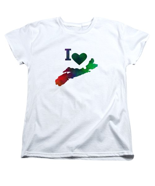 I Love Nova Scotia Women's T-Shirt (Standard Cut) by Kathleen Sartoris